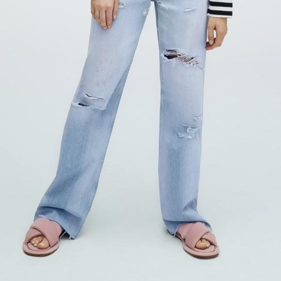 Zara Mauve Quilted square toe sandals/ slides